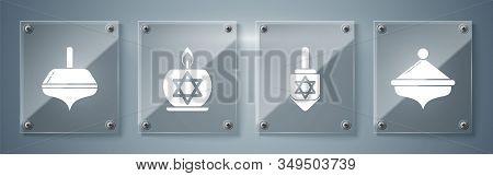 Set Hanukkah Dreidel, Hanukkah Dreidel, Burning Candle In Candlestick With Star Of David And Hanukka