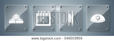 Set Jewish Kippah With Star Of David, Torah Scroll, Jewish Calendar With Star Of David And Jewish Sw