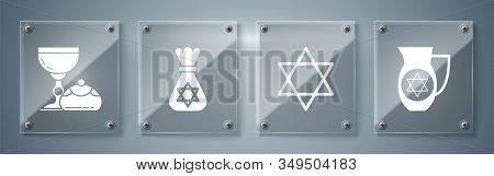 Set Decanter With Star Of David, Star Of David, Jewish Money Bag With Star Of David And Jewish Goble