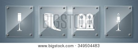 Set Burning Candle In Candlestick, Tombstone With Star Of David, Traditional Ram Horn, Shofar And Je