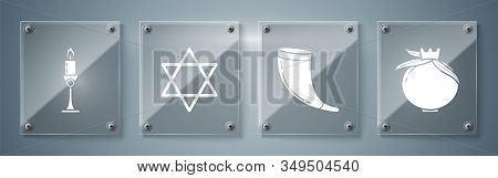 Set Pomegranate, Traditional Ram Horn, Shofar, Star Of David And Burning Candle In Candlestick. Squa