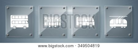 Set Tram And Railway, Bus, Old City Tram And Double Decker Bus. Square Glass Panels. Vector