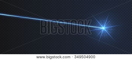 Blue Laser Beam Light Effect Isolated On Transparent Background.