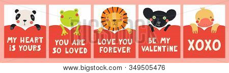 Collection Of Valentines Day Cards With Cute Funny Animals, Hearts, Quotes. Hand Drawn Vector Illust