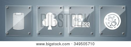 Set Glass Of Whiskey And Ice Cubes, Game Dice And Glass Of Whiskey With Ice Cubes, Playing Card With