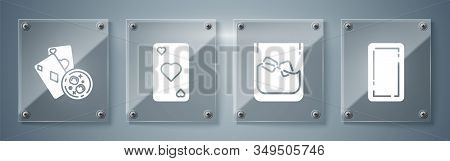 Set Playing Card Back, Glass Of Whiskey And Ice Cubes, Playing Card With Heart Symbol And Playing Ca
