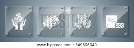 Set Game Dice And Glass Of Whiskey With Ice Cubes, Casino Chips, Game Dice And Glass Of Whiskey With