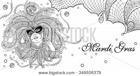 Vector Outline Woman Face With Peacock Feathers, Ornate Collar And Mardi Gras Beads In Black Isolate