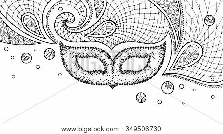 Vector Drawing With Dotted Carnival Mask, Outline Lace And Mardi Gras Beads In Black Isolated On Whi