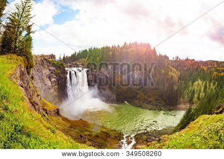 Panorama Of Snoqualmie Falls Is A 268-foot Waterfall In The Northwest United States Near Seattle, Wa