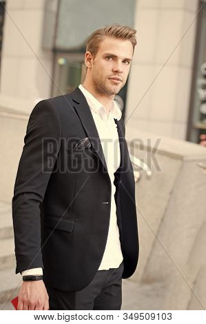 Man Formal Outfit Businessman Handsome Well Groomed Urban Background. Gentleman Dressed Professional