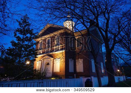 Illuminated Independence Square And Hall At Night During Winter In Philadelphia Building Where The U