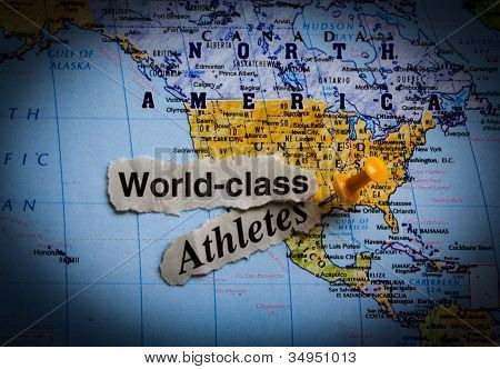 world map & world class athletes