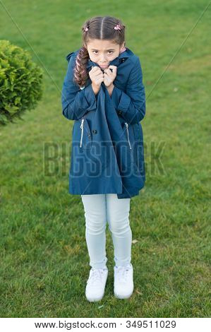 Girl Cute Face Braided Hair Posing Coat In Spring Park. Clothing For Spring Walks. Little Fashion Mo