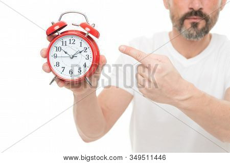 Check Time. Man Hold Alarm Clock In Hand. Guy Bearded Mature Man Worry About Time. What Time Is It.