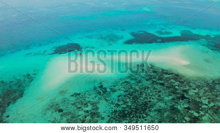 Seascape: Sandy Bar, Beach Among Coral Reefs In Turquoise Atoll Water, Top View. Summer And Travel V