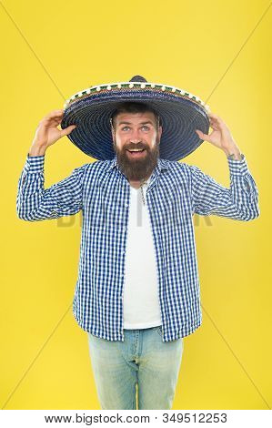 He Is In Love With Mexican Style. Bearded Man In Mexican Hat. Hipster In Wide Brim Hat. Mexican Man