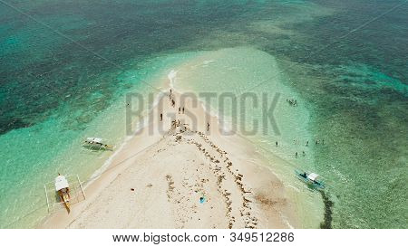 Sandy White Island With Beach And Sandy Bar In The Turquoise Atoll Water, Aerial Drone. Summer And T
