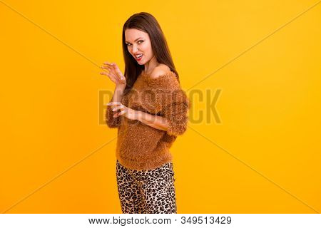 Photo Of Amazing Girlish Carefree Lady Showing Claws Gonna Play With Boyfriend Grinning Wear Fluffy