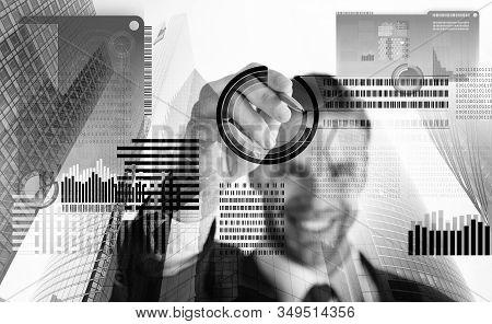 Blockchain Technology. Future Digital Money. Investment Crypto Currency. Man Interact Virtual Displa