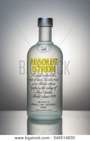Heraklion, Greece -january 29, 2020: Product Photography Of Bottle Absolut Citron Vodka.