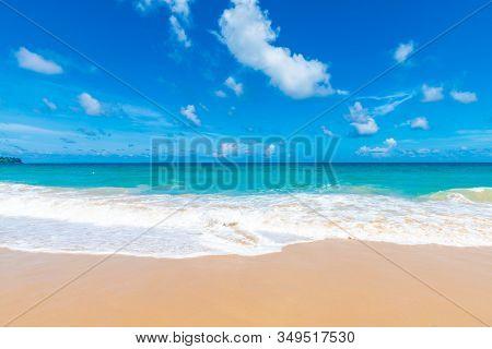 Colorful Sea Beach Wave With Blue Sky Fluffy Cloud