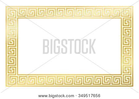 Golden Rectangle Framed Disconnected Meander Pattern Made Of Seamless Meanders. Meandros. Decorative