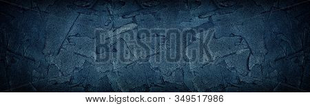 Navy Blue Cement Strokes Panoramic Texture. Large Wide Dark Grungy Wall Background