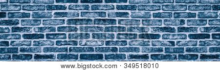 Frosty Blue Brick Wall Long Texture. Large Panoramic Navy Stone Block Background