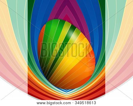 3d Illustration Of Striped Easter Egg Over Multicolored Striped Panel On Faded Striped And White Bac