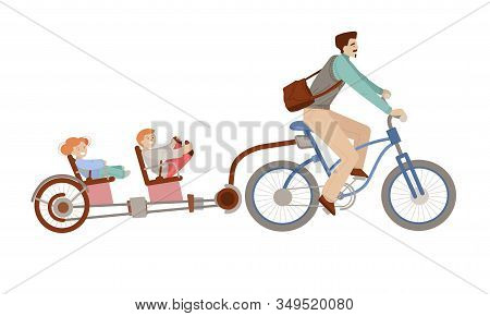 Happy Father Riding A Bicycle With Two Kids On Back Child Bike Trailer. Happy Family On Bicycle, Man