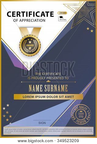 Official White Certificate With Gold Blue Lilac Triangles, Line . Business Modern Design. Black Embl