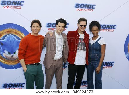 James Marsden, Ben Schwartz, Jim Carrey and Tika Sumpter at the Los Angeles premiere of 'Sonic the Hedgehog' held at Paramount Theatre in Los Angeles, USA on January 25, 2020.