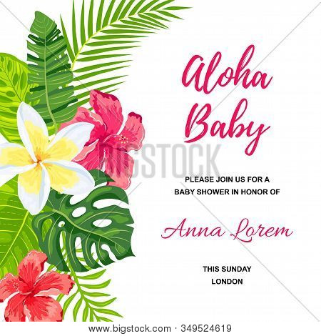 Summer Background With Jungle Leaves And Flowers. Tropical Party Invitation. Place For Text. Great F