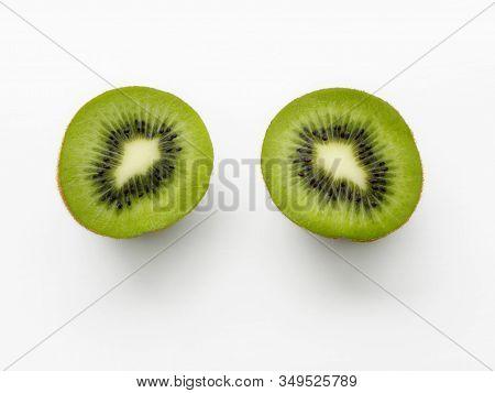 Kiwi Cutaway Close-up On A White Background