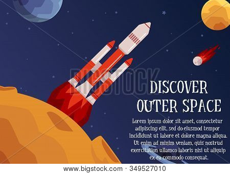 Discover Outer Space - Text And Rocket Launching To Stars Vector Illustration.