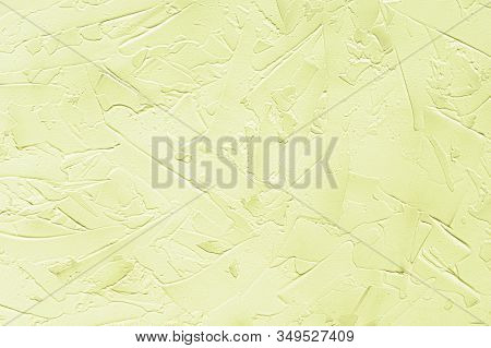 Texturized Yellow Putty. Vintage Background Of Venetian Stucco Texture. Monochrome Abstract Backgrou
