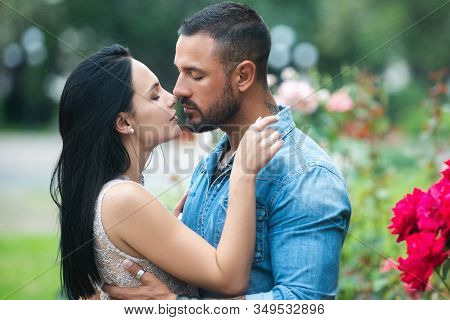 Portrait Couple In Love Kiss. Passion Dating And Love. Seduction Concept. Romantic Portrait Of A Sen