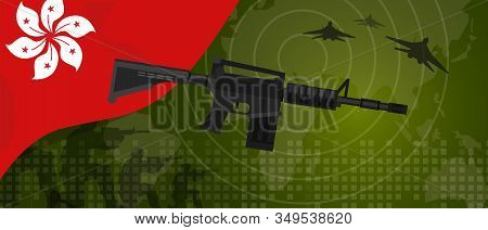 Hongkong Modern Warfare World Map Country Army. Soldier With Gun And Plane. National Flag Gun Milita