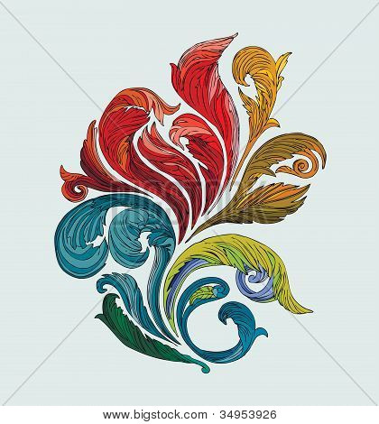 Floral Decoration, multicolored, ornate vector swirl