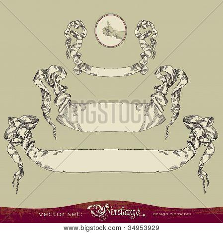 Old banner vector set for decoration and design