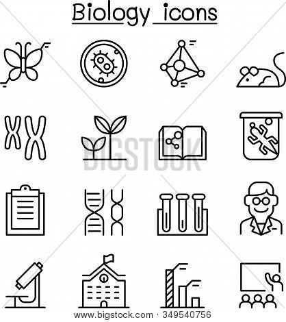 Biology Icon Set In Thin Line Style