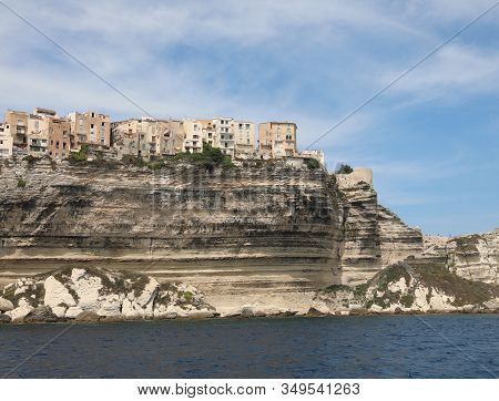 Suspended Houses Overlooking The Sea Of Bonifacio City In Corsica Island And The Mediterranea Sea In