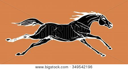 Galloping Horse, Drawing In The Style Of An Ancient Greek Black Statuette On Ceramics, Vector Isolat