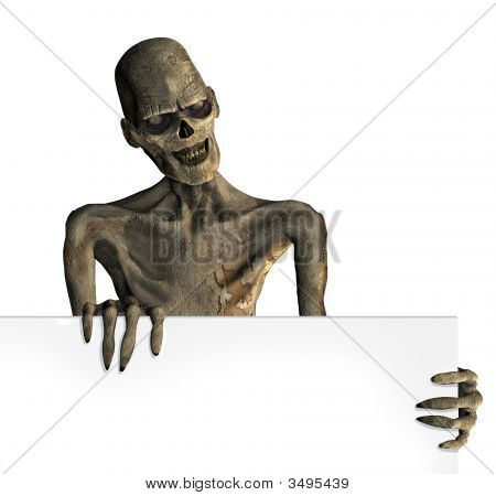 Zombie With Edge Of Blank Sign