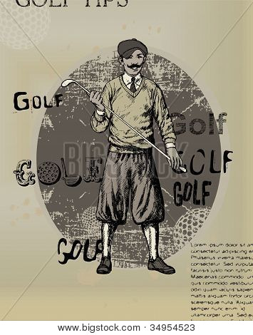 Old newspaper with an illustration of golfing man