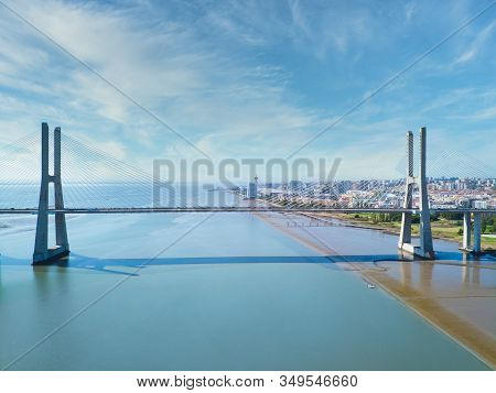 Aerial View Of Vasco Da Gama Bridge In Lisbon