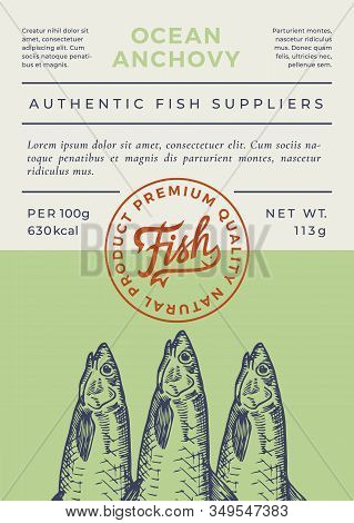 Ocean Fish Abstract Vector Packaging Design Or Label. Modern Typography Banner, Hand Drawn Anchovy S