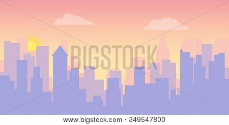 Cityscape At Sunrise. Sunrise Against The Background Of The Urban Landscape. Vector Illustration Of