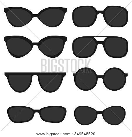 Sunglasses. Black Sunglasses From The Sun Isolated On A White Background. Vector Illustration Of Sun